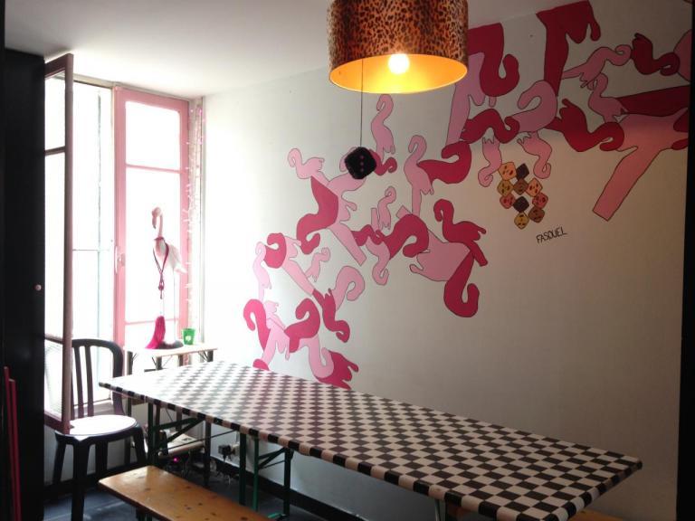 Fresque murale au Pink