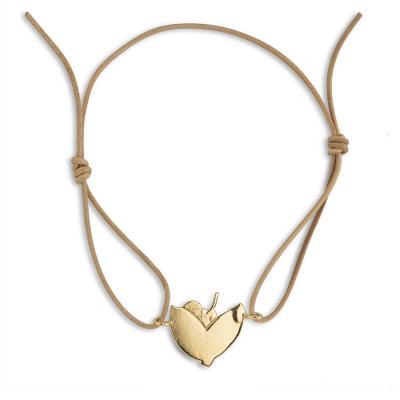 Bracelet cuir feuille coeur
